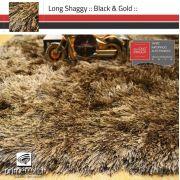 Tapete Long Shaggy Black & Gold, Preto/Ouro, Fios de Seda 60mm 1,00 x 1,50m