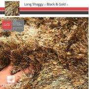 Tapete Long Shaggy Black & Gold, Preto/Ouro, Fios de Seda 60mm 2,50 x 3,00m