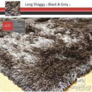 Tapete Long Shaggy Black & Grey, Preto/Prata, Fios de Seda 60mm 1,00 x 1,50m