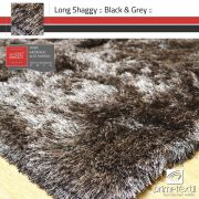 Tapete Long Shaggy Black Grey - Mescla Preto & Prata - Fios de Seda* 70mm