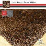 Tapete Long Shaggy Brown Beige - Mescla Marrom & Bege - Fios de Seda* 70mm