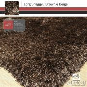 Tapete Long Shaggy Brown & Beige, Marrom/Bege, Fios de Seda 60mm 2,50 x 3,00m