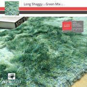 Tapete Long Shaggy Green Mix, Verde/Azul, Fios de Seda 60mm 0,50 x 1,00m