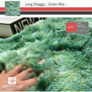Tapete Long Shaggy Green Mix, Verde/Azul, Fios de Seda 60mm 1,00 x 1,50m