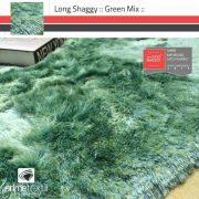 Tapete Long Shaggy Green Mix, Verde/Azul, Fios de Seda 60mm 2,00 x 2,50m