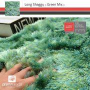 Tapete Long Shaggy Green Mix, Verde/Azul, Fios de Seda 70mm - 2,00m Redondo