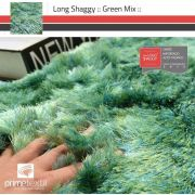Tapete Long Shaggy Green Mix, Verde/Azul, Fios de Seda 60mm 2,50 x 3,00m