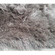 Tapete Long Shaggy Grey & Silver, Cinza/Prata, Fios de Seda 60mm 0,50 x 1,00m