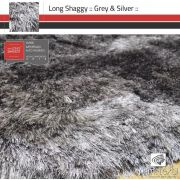 Tapete Long Shaggy Grey & Silver, Cinza/Prata, Fios de Seda 60mm 1,00 x 1,50m