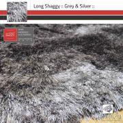 Tapete Long Shaggy Silver Grey - Mescla Cinza & Prata - Fios de Seda 70mm