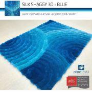 Tapete Sala Silk Shaggy 3D Fio de Seda 40mm Azul Turquesa Tiffany 2,00 x 2,50m