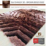 Tapete Sala Silk Shaggy 3D Fio de Seda 40mm Mesclado Marrom Bege 2,00 x 2,50m