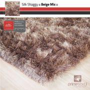 Tapete Silk Shaggy Beige Mix, Bege/Marrom , Fio de Seda 40mm