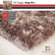 Tapete Silk Shaggy Beige Mix, Bege/Marrom, Fio de Seda 40mm 1,50 x 2,00m