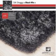 Tapete Silk Shaggy Black Mix - Preto/Cinza, Fio De Seda 40mm 0,50 x 1,00m