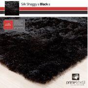 Tapete Silk Shaggy Black, Preto Onix, Fio De Seda 40mm 0,50 x 1,00m