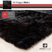 Tapete Silk Shaggy Black, Preto Onix, Fio De Seda 40mm 1,00 x 1,50m