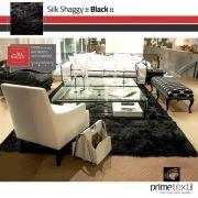 Tapete Silk Shaggy Black, Preto Onix, Fio De Seda 40mm 3,00 x 4,00m