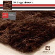 Tapete Silk Shaggy Brown, Marrom , Fio de Seda 40mm 1,00 x 1,50m