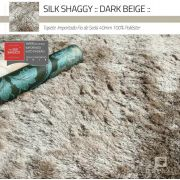 Tapete Silk Shaggy Dark Beige, Bege Cáqui, Fio de Seda 40mm 3,00 x 4,00m