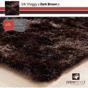 Tapete Silk Shaggy Dark Brown, Marrom Grafite, Fio de Seda 40mm 0,50 x 1,00m