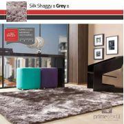 Tapete Silk Shaggy Grey, Cinza, Fio de Seda 40mm 2,00 x 3,00m