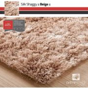 Tapete Silk Shaggy Light Beige, Bege Marfim, Fio de Seda 40mm 1,00 x 1,50m