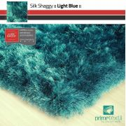 Tapete Silk Shaggy Light Blue, Azul Turquesa Tiffany, Fio de Seda 40mm 0,50 x 1,00m