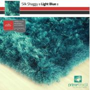 Tapete Silk Shaggy Light Blue, Azul Turquesa Tiffany, Fio de Seda 40mm 2,50 x 3,00m