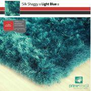 Tapete Silk Shaggy Light Blue, Azul Turquesa Tiffany, Fio de Seda 40mm 2,50 x 3,00m