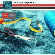 Tapete Silk Shaggy Light Blue, Azul Turquesa Tiffany, Fio de Seda 40mm 3,00 x 4,00m