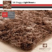 Tapete Silk Shaggy Light Brown, Marrom Bronze, Fio de Seda 40mm 0,50 x 1,00m