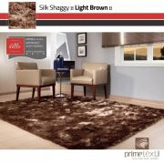 Tapete Silk Shaggy Light Brown, Marrom Bronze, Fio de Seda 40mm 1,00 x 1,50m