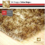 Tapete Silk Shaggy Yellow Beige, Bege Ouro, Fio de Seda 40mm 0,50 x 1,00m
