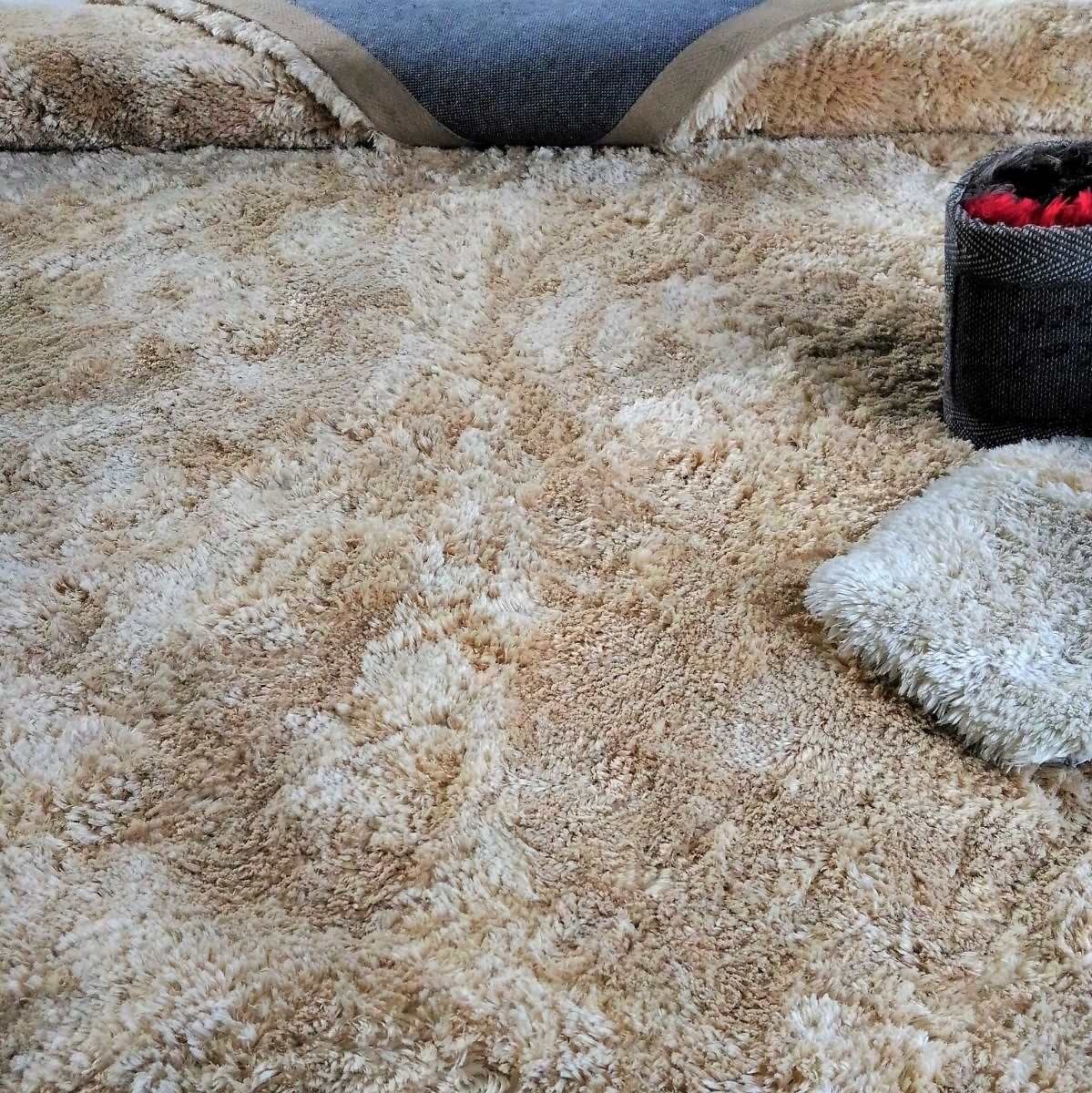 Tapete Art Shaggy Beige, Bege Creme, Lã de Seda 30mm 1,50 x 2,00m