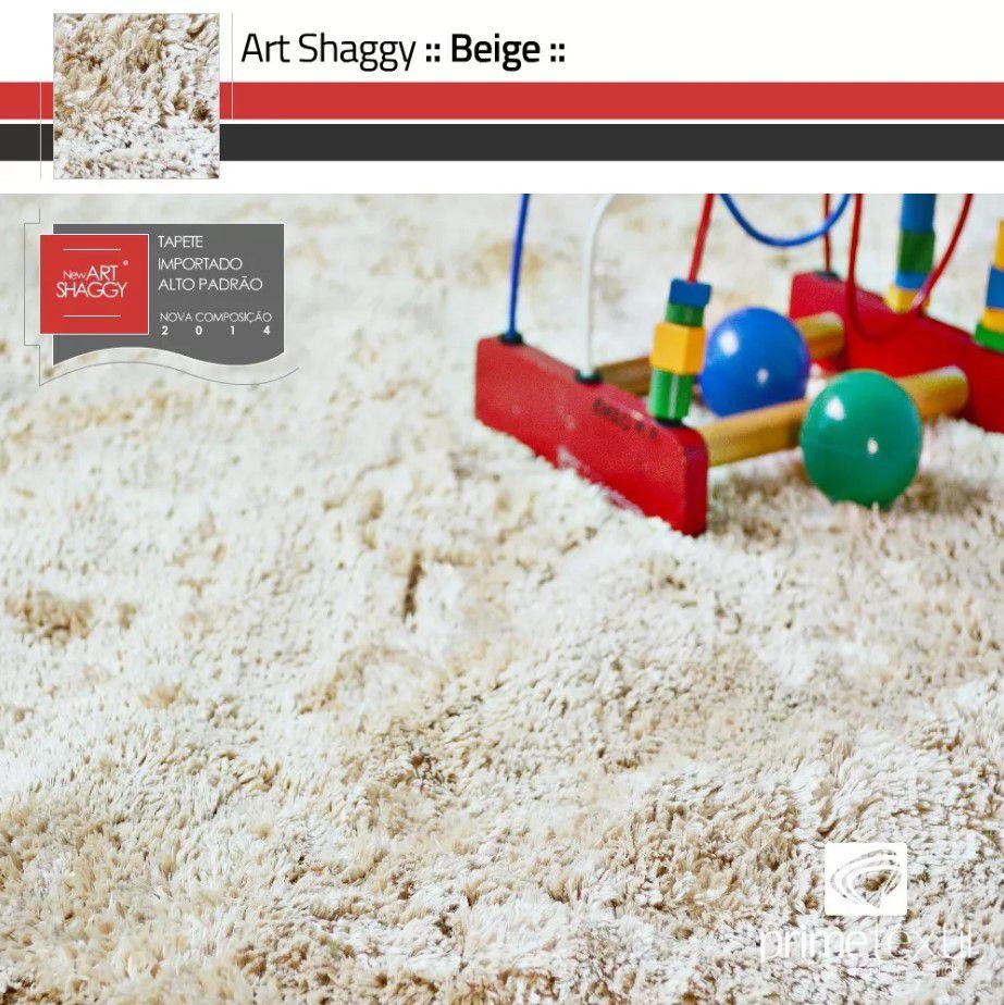 Tapete Art Shaggy Beige - Bege Creme - Lã de Seda* 30mm