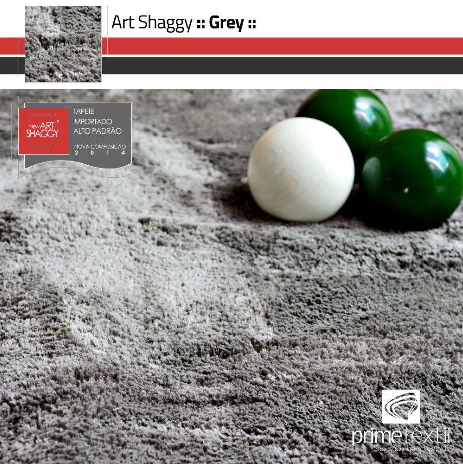 Tapete Art Shaggy Grey, Cinza, Lã de Seda 30mm 1,50 x 2,00m