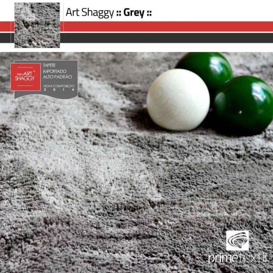 Tapete Art Shaggy Grey, Cinza, Lã de Seda 30mm 2,00 x 2,50m
