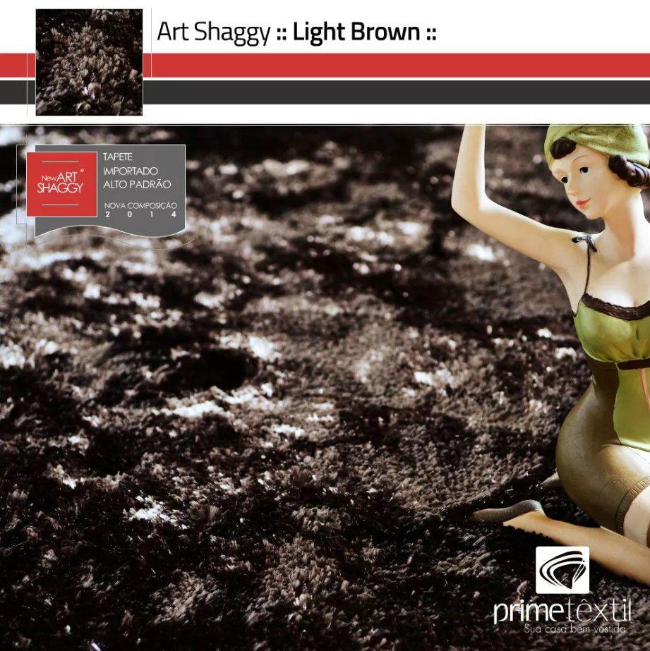 Tapete Art Shaggy Light Brown, Marrom Bronze, Lã de Seda 30mm 1,50 x 2,00m