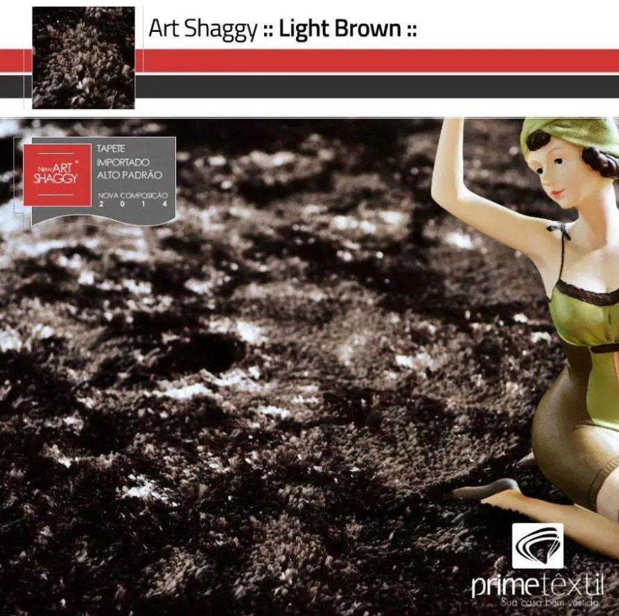 Tapete Art Shaggy Light Brown, Marrom Bronze, Lã de Seda 30mm 2,00 x 3,00m