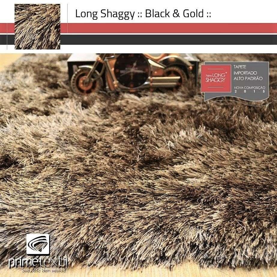 Tapete Long Shaggy Black & Gold, Preto/Ouro, Fios de Seda 60mm 1,50 x 2,00m