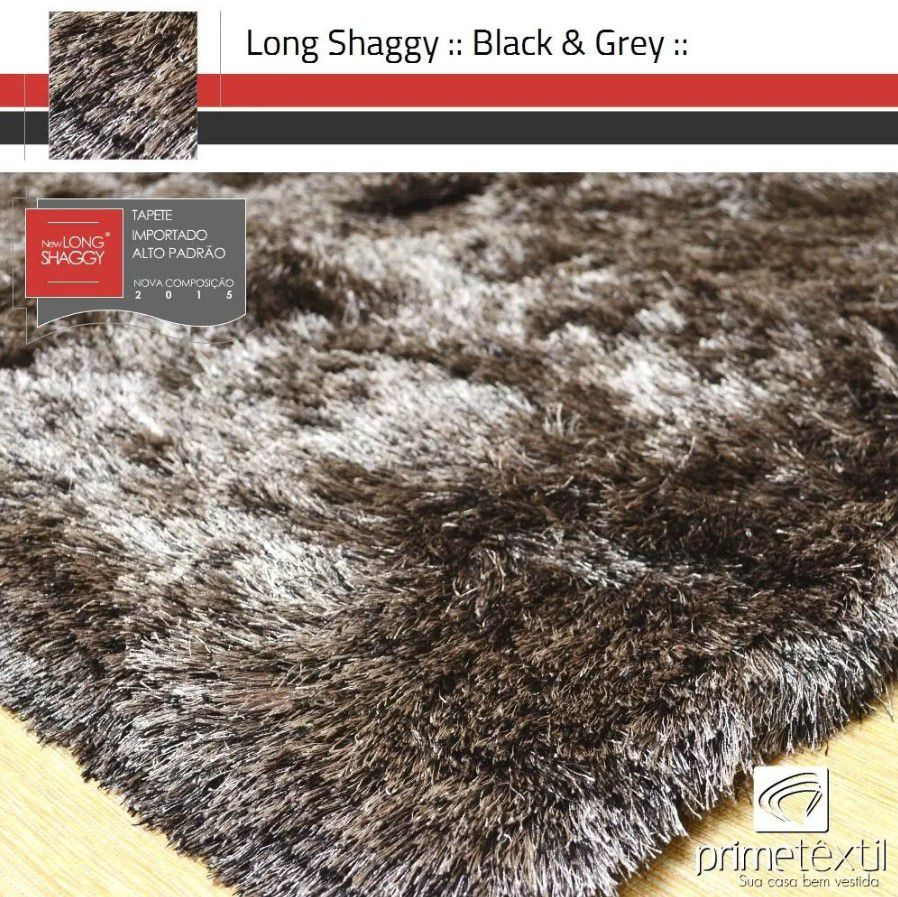Tapete Long Shaggy Black & Grey, Preto/Prata, Fios de Seda 60mm 1,50 x 2,00m