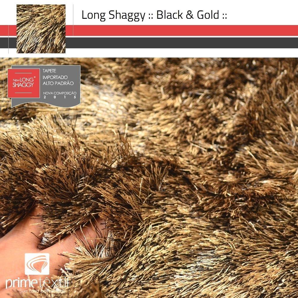 Tapete Long Shaggy Black Gold - Mescla Preto & Ouro - Fios de Seda 70mm