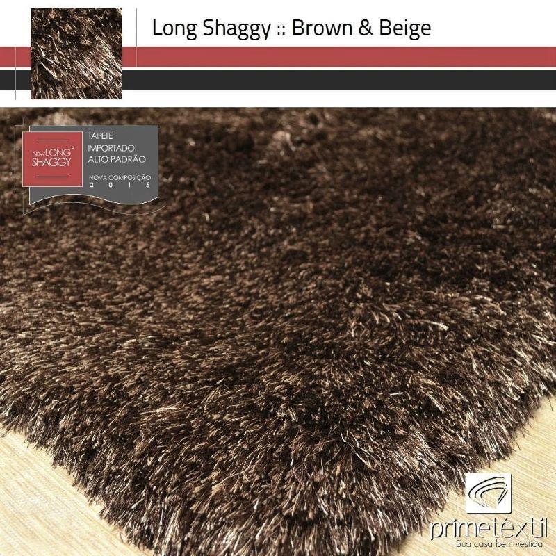 Tapete Long Shaggy Brown & Beige, Marrom/Bege, Fios de Seda 60mm 1,00 x 1,50m