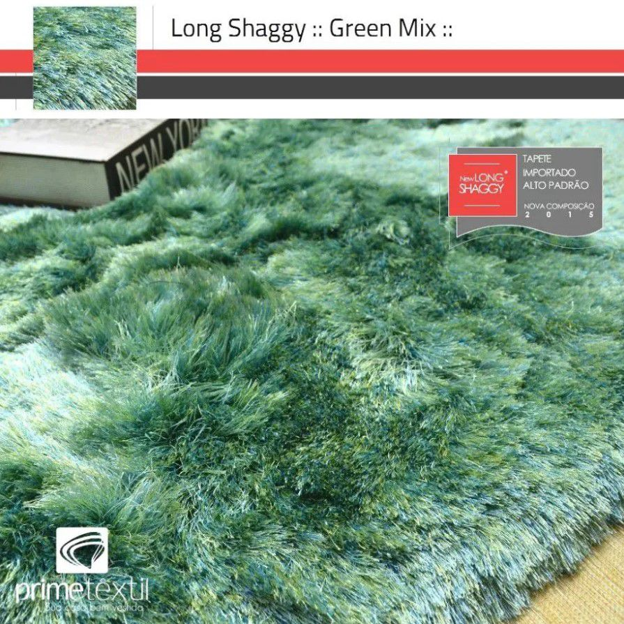 Tapete Long Shaggy Green Mix, Verde/Azul, Fios de Seda 60mm 1,00 x 1,50m