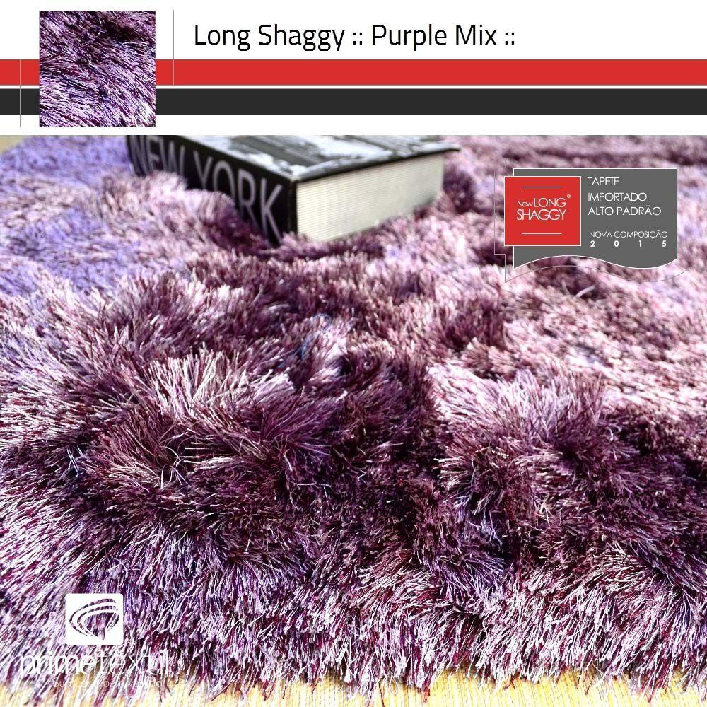 Tapete Long Shaggy Purple Mix - Mescla Roxo & Rosa - Fios de Seda 60mm 0,50 x 1,00m