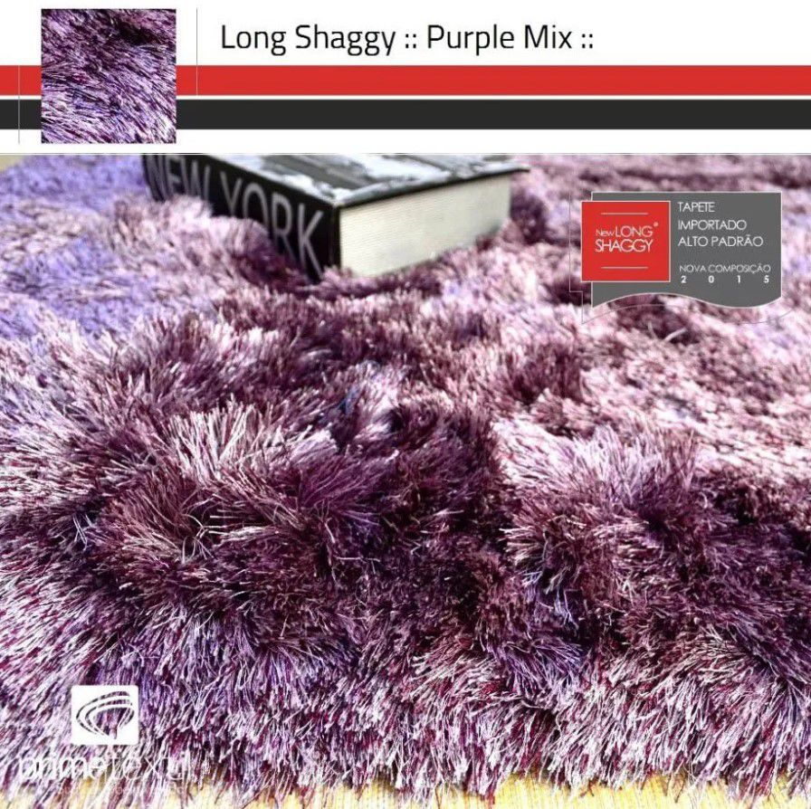 Tapete Long Shaggy Purple Mix, Roxo/Rosa, Fios de Seda 60mm 1,00 x 1,50m