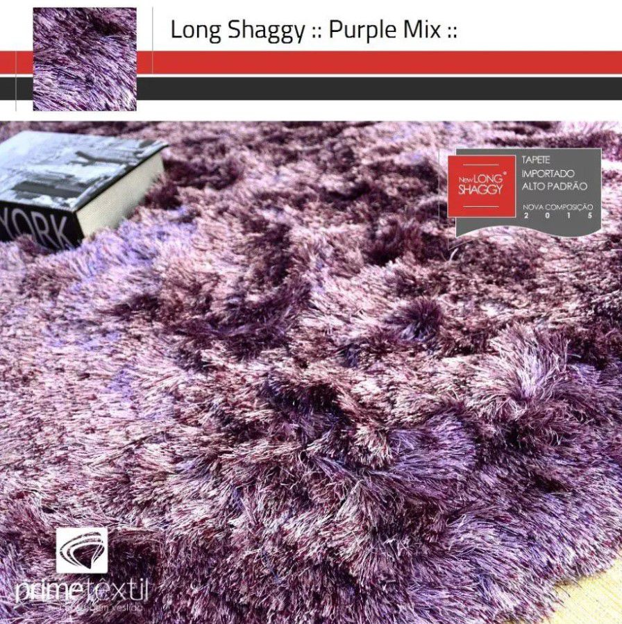 Tapete Long Shaggy Purple Mix, Roxo/Rosa, Fios de Seda 60mm 2,50 x 3,00m