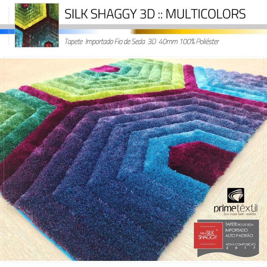 Tapete Sala Silk Shaggy 3D Fio de Seda 40mm Colorido Azul Verde Vinho Roxo 1,50 x 2,00m