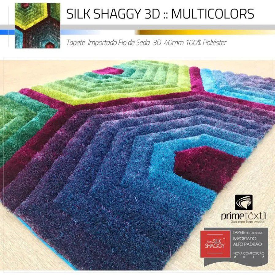 Tapete Sala Silk Shaggy 3D Fio de Seda 40mm Colorido Azul Verde Vinho Roxo 2,00 x 2,50m